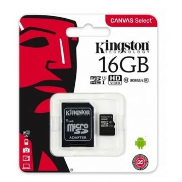 Kingston 16GB Canvas Select Micro SD Card with SD Adapter